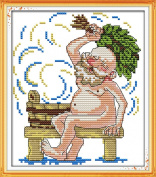 AngelGift Needlecrafts Stamped Counted Cross Stitch Set, Figure - Bathing Grandfather