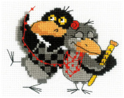 RIOLIS 10 Count Two Ravens Counted Cross Stitch Kit, 16cm x 13cm