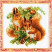 RIOLIS 14 Count Squirrels Counted Cross Stitch Kit, 25cm x 25cm