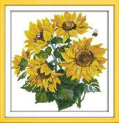 Sunny World Counted Cross Stitch 16- Inch By 16- Inch, Golden Sunflowers and Bees