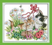 Sunny World Counted Cross Stitch 14- Inch By 13- Inch, Flowers Kitten
