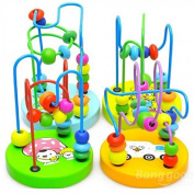 Kyz Kuv Baby Wooden Toy Mini Around Beads Wire Maze Educational Game Bauble