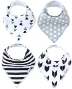 Baby Bandana Drool Bibs Shade 4 Pack of Unisex Absorbent Cotton Modern Baby Gift Set for Boys and Girls By Copper Pearl