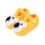 ZHAOPANPAN Newborn 2-8 Months baby Infant Girls Cute Dog Style Handmade Crochet Knit Shoes Soft Prewalker Yellow