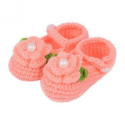 ZHAOPANPAN Newborn 2-8 Months baby Infant Girls Sweet Handmade Crochet Knit Shoes Soft Prewalker Orange