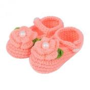 ZHAOPANPAN Newborn 2-8 Months baby Infant Girls Sweet Handmade Crochet Knit Shoes Soft Prewalker Orange