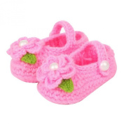 ZHAOPANPAN Newborn 2-8 Months baby Infant Girls Sweet Handmade Crochet Knit Shoes Soft Prewalker Pink
