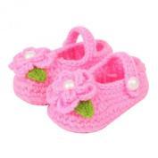 ZHAOPANPAN Newborn 2-8 Months baby Infant Girls Sweet Handmade Crochet Knit Shoes Soft Prewalker Pink