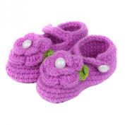ZHAOPANPAN Newborn 2-8 Months baby Infant Girls Sweet Handmade Crochet Knit Shoes Soft Prewalker Purple