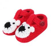 ZHAOPANPAN Newborn 2-8 Months baby Infant Girls Cute Dog Style Handmade Crochet Knit Shoes Soft Prewalker Red