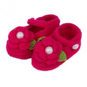 ZHAOPANPAN Newborn 2-8 Months baby Infant Girls Sweet Handmade Crochet Knit Shoes Soft Prewalker Red