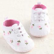 LiveBox Newborn Baby Girls' Cotton Premium Soft Sole Sneaker Infant Prewalker Toddler Shoes (L