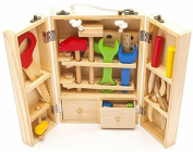 Crazystone's Kids Hand-polished Wooden Multifunctional Tool Box Maintenance Box for 5+ Years