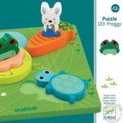 Djeco DJ01047 Wooden Puzzle- 1 2 3 Froggy Puzzle