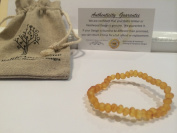 Baltic Amber Teething Bracelet 5.5 - 15cm Stretch for Babies - Unpolished Raw Lemon Baby, Infant, and Toddlers drooling, fever, fussiness. Organic Certified