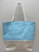 50cm Heavy Duty Cotton Canvas Tote - Blue Stripes