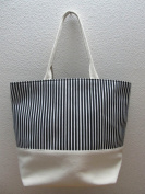 50cm Heavy Duty Cotton Canvas Tote - Black Stripes