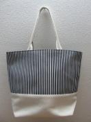 50cm Heavy Duty Cotton Canvas Tote - Black Stripes