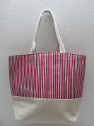 50cm Heavy Duty Cotton Canvas Tote - Red Stripes