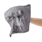 Estella Hand Knitted Organic Cotton Baby Security Blanket, Elephant