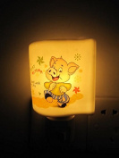 A.Shine Naughty Pig Ceramic NightLights, Porcelian Night Lamp for Baby Children Bedroom
