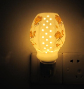 A.Shine Hollow Out Small LED Ceramic NightLights, Porcelian Night Lamp for Baby Children Bedroom