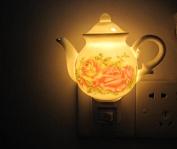 A.Shine Teapot Small LED Ceramic NightLights, Porcelian Night Lamp for Baby Children Bedroom