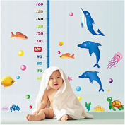Dnven (170cm w X 140cm h) Under the Sea Dolphins Tropical Fishes with Octopus Height Measurement Growth Chart Measures with Quote Wall Stickers Decals for Kids Room