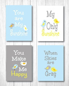 "Set of Four 20cm X 25cm Art Prints ""You Are My Sunshine"" in Baby Blue"