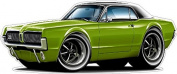 "Ford Garage Decor 1967 Mercury Cougar Large 60cm x 48"" (1.2m Long) Wall Graphic Decal Sticker Man Cave Garage Decor Boys Room Decor"