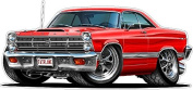 Ford Wall Graphic 1966 Fairlane Large 1.2m Long Decal Garage Art Cling Boys Room Decor