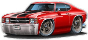 1971 Chevelle Super Sport 454 Car Art Large 1.2m long Wall Graphic Decal Sticker Man Cave Garage Decor Boys Room Decor