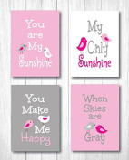"Set of Four 13cm X 18cm Art Prints ""You Are My Sunshine"" in Baby Pink"