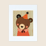 Petit Collage Unframed Print on Wood Wall Decor, Party Bear, Large