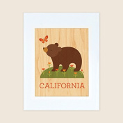 Petit Collage Unframed Print on Wood Wall Decor, California Bear, Large