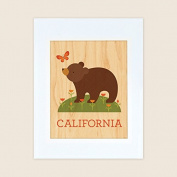 Petit Collage Unframed Print on Wood Wall Decor, California Bear, Large