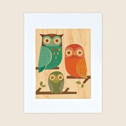 Petit Collage Unframed Print on Wood Wall Decor, Owl Trio, Large