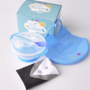 Baby Boy Bib and Feeding Bowl Gift Set, Waterproof, BPA Free, Blue
