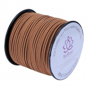 BRCbeads Micro-Fibre Flat Leather Lace Beading Thread Faux Suede Cord String Velet 100 Yard Roll Spool 3mm Middle Brown Colour with Acrylic JAr