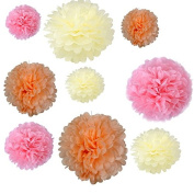 Generic Set of 18PCS Mixed Sizes Peach Ivory Pink Tissue Pompoms Paper Flower Pom Poms Wedding Birthday Party Christmas Girls Room Decoration