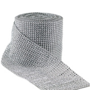 Aspire Silver Diamond Mesh Wrap Roll Rhinestone Crystal Ribbon 12cm X 10 Yards 24 Rows 1 Roll