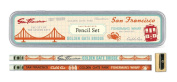 Cavallini Papers Pencil Set with 10 Pencils and 1 Sharpener, San Francisco