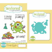 Taylored Expressions Cling Stamp and Die Set, 14cm by 7.6cm , Candy Monster