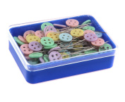 Happy Will 100 Pcs Flat Button 4.8cm Head Pins Boxed Straight Pins Quilting Quilter's Pins with Stylus