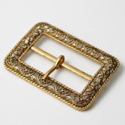 Vintage Metal Filigree Belt Buckle, Vintage Fashion Jewellery, 5.1cm - 1.9cm x 2.5cm - 2.2cm by 1 pc, Antique Gold, TR-11037