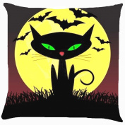 Cushion cover throw pillow case 46cm retro vintage Halloween witch pet black cat flyig bats moon light cute funny both sides image zipper