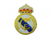 2 pcs REAL MADRID Iron On Patch Embroidered Fabric Spain Spanish Football La Liga Decal 2.8 x 2.1 inches