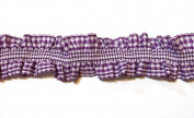 2 Yards - Purple Gingham Ruffle Elastic Trim - Size 23 Mm