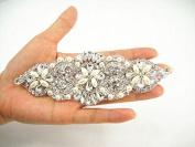 Diamante Applique, rhinestone applique,crystal bridal Sash applique, Bridal Applique, wedding applique, pearl beaded applique, wedding belt