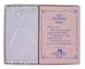 White Eyelet Covered Keepsake Baby Bible - Made in USA